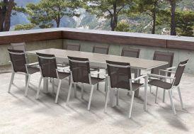 Salon de Jardin Modulo : Table Extensible + 12 Fauteuils (4 Coloris ...