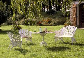 Salon de Jardin Fonte d'Aluminium et Bois Fougère