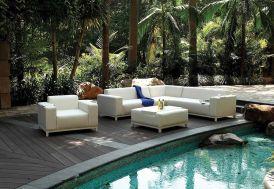 Salon de jardin en aluminium et en PU imitation cuir blanc crème