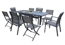 salon de jardin en aluminium avec 4 chaises et 4 fauteuils