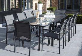 Salon de Jardin Modulo : Table Extensible + 10 Fauteuils Gris