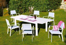 Salon de Jardin Extensible Aluminium Blanc 6 Places Monet