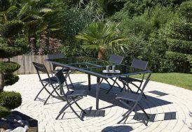 Salon de Jardin Noir en Verre Table 240 cm + 6 Chaises