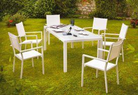 Salon de Jardin Aluminium Verre Blanc 6 Places Botticelli