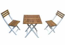 Salon de Jardin Pliant Balcon Bois Peschiera Table + Chaises