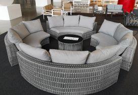 Salon de Jardin Circulaire Aluminium et Corde : 4 Canapés et 1 Table