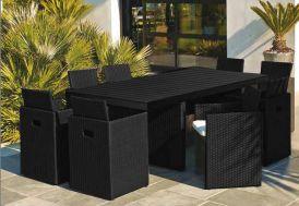 Salon de Jardin Composite Encastrable 9 Pièces
