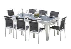 Salon de jardin en aluminium avec table extensible et fauteuils