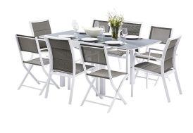 Salon de jardin en aluminium, verre et textilène 4 coloris