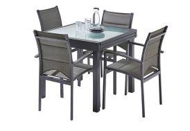 salon de jardin avec table à manger carrée extensible