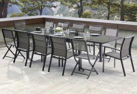 Salon de Jardin Modulotex Verre: Table Extensible + 8 Fts + 4 Chaises