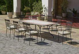 salon de jardin 8 places en acier et plateau mosaïque