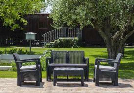 Salon de Jardin en Résine St Barth: 1 Canapé + 2 Fts + 1 Table