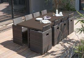 salon de jardin encastrable en aluminium et résine tressée