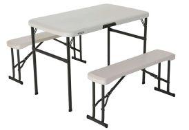 Table de Camping + 2 Bancs PEHD (107 x 61 x 71 cm)