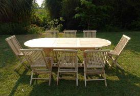 salon jardin teck 8 places chaises pliantes