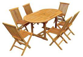Salon de Jardin Teck - Table Ovale 120/170 cm + 6 Chaises