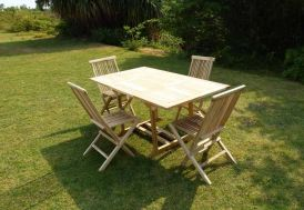 Salon de Jardin Imitation Tonneaux en Bois : 1 Table + 4 Fauteuils ...