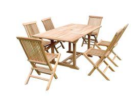 Salon de Jardin Teck - Table Rectangulaire 120/170 cm + 6 Chaises