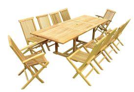 Salon de Jardin Teck - Table Rectangulaire 200/300 cm + 10 Assises