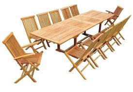 Salon de Jardin Teck - Table Rectangulaire 200/300 cm + 12 Assises