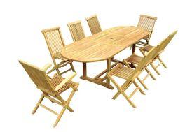 Salon de Jardin Teck - Table Ovale 180/240 cm + 8 Assises