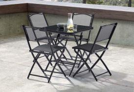 Salon de Jardin pour Terrasse en Acier: 1 Table + 4 Chaises Noir