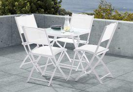 Salon de Jardin pour Terrasse en Acier: 1 Table + 4 Chaises Blanc