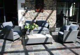 Salon de Jardin en Textilène Gris Galet Riade 4 Places