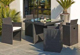 Salon de Jardin en Résine Tressée Encastrable Noir : 1 Table + 4 Fts