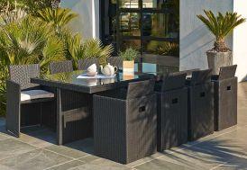 Salon de Jardin en Résine Tressée Encastrable Noir : 1 Table + 8 Fts