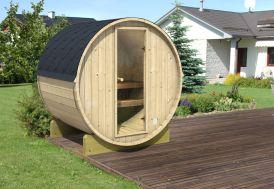 Sauna extérieur en kit en bois brut en forme de tonneau