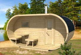 Sauna d'exterieur oval avec poêle en option