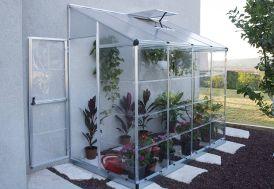 Serre Adossée en Aluminium et Polycarbonate Lean To 3 m² Porte Ouverte