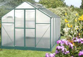 Serre de Jardin Polycarbonate 10,50m² avec Base + 4 Lucarnes