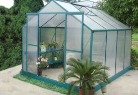 Serre de Jardin Polycarbonate 7,56m² avec Base + 2 Lucarnes