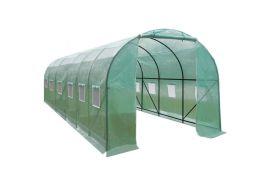 Serre de Jardin Tunnel 18 m² en Polyéthylène Vert Renforcé