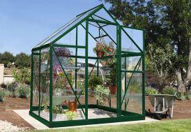 serre de jardin en aluminium vert et polycarbonate transparent 2 m