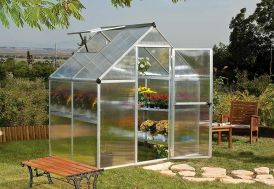 Petite serre de jardin en polycarbonate avec aluminium gris