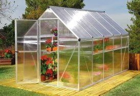 Serre de jardin en polycarbonate avec structure alu gris argenté