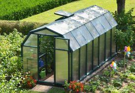 serre de jardin en PVC vert et polycarbonate double paroi 6 mm
