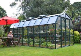 Serre de jardin en PVC vert et polycarbonate transparent 14 m²