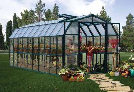 Serre de jardin en PVC vert et parois polycarbonate transparent
