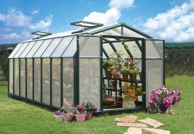 serre de jardin en polycarbonate avec structure PVC vert 5 m