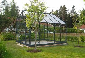 Serre de Jardin en Verre Trempé Grise avec Base 7,42 m²