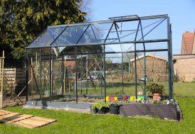 Serre de Jardin en Verre Trempé Grise avec Base 5,77 m²