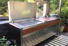 Table de cuisson avec plancha à gaz en inox et friteuse Oasi 205C