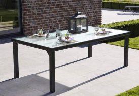 Table en Aluminium Noir et Verre Trempé 210x105x72cm (l,l,h)