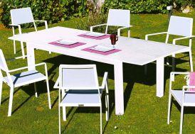 Table de Jardin Extensible 180-240 cm Aluminium Blanc Monet