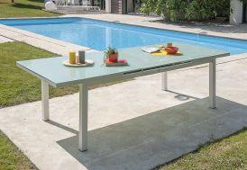 table de jardin en aluminium blanc avec plateau en verre et rallonge